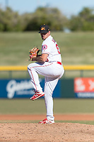 Mesa Solar Sox relief pitcher Brett Hanewich (53), of the Los Angeles Angels organization, delivers a pitch during an Arizona Fall League game against the Surprise Saguaros at Sloan Park on November 15, 2018 in Mesa, Arizona. Mesa defeated Surprise 11-10. (Zachary Lucy/Four Seam Images)
