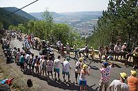 stage leader at 1km from the top of the Cote de la Croix Neuve (2C/1055m/3km/10.1%) is Romain Bardet (FRA/Ag2r-La Mondiale)<br /> <br /> stage 14: Rodez - Mende (178km)<br /> 2015 Tour de France