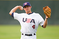 Brad Miller #4 warms up prior to taking on Team Korea at Knights Stadium July 16, 2010, in Fort Mill, South Carolina.  Photo by Brian Westerholt / Four Seam Images