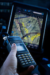 Mountain Lion (Puma concolor) biologist, Paul Houghtaling, tracking mountain lions from airplane using telemtry, Santa Cruz Puma Project, Santa Cruz Mountains, California