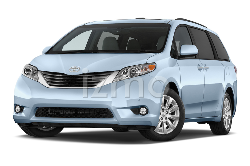 Stock pictures of low aggressive front three quarter view of2015 Toyota Sienna XLE V6 8-Passenger 5 Door Mini Van Low Aggressive