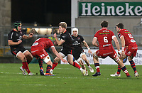 Sunday 22nd November 2020 | Ulster vs Scarlets<br /> <br /> Rob Lyttle  is tackled by Sam Lousi during the Guinness PRO14 Round 7 clash between Ulster Rugby and Scarlets at Kingspan Stadium, Ravenhill Park, Belfast, Northern Ireland. Photo by John Dickson / Dicksondigital