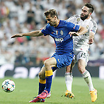Real Madrid's Rafael Carvajal (r) and Juventus' Fernando LLorente during Champions League 2014/2015 Semi-finals 2nd leg match.May 13,2015. (ALTERPHOTOS/Acero)