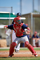 GCL Cardinals catcher Ivan Herrera (32) fakes a throw during a game against the GCL Marlins on August 4, 2018 at Roger Dean Chevrolet Stadium in Jupiter, Florida.  GCL Marlins defeated GCL Cardinals 6-3.  (Mike Janes/Four Seam Images)
