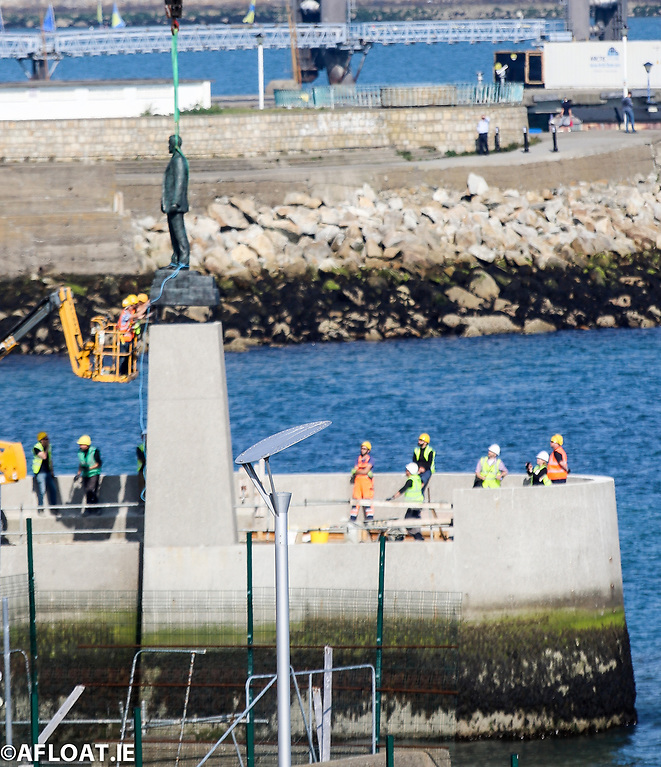 The new Roger Casement Statue is installed at the Dún Laoghaire Baths site that is undergoing refurbishment