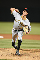 Scottsdale Scorpions pitcher Tyler Glasnow (24) during an Arizona Fall League game against the Salt River Rafters on October 7, 2014 at Salt River Fields at Talking Stick in Scottsdale, Arizona.  Scottsdale defeated Salt River 7-4.  (Mike Janes/Four Seam Images)