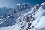 Alaska, Denali National Park, Southeast Buttress, Denali, Mount McKinley, Ski Climbers, telemark skiing, Ruth Glacier, Don Sheldon Amphitheater, Alaska Range, Alaska, U.S.A., North America, Mike Allison, model released,.