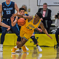3 March 2018: University of Vermont Guard Ben Shungu, a Redshirt Freshman from Burlington, VT, in action during the America East quarterfinals against Maine at Patrick Gymnasium in Burlington, Vermont. The Catamounts defeated the Black Bears 75-60 to move onto the AE semi-finals. Mandatory Credit: Ed Wolfstein Photo *** RAW (NEF) Image File Available ***