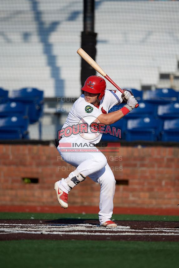 Johnson City Cardinals catcher Carlos Soto (47) at bat during a game against the Danville Braves on July 29, 2018 at TVA Credit Union Ballpark in Johnson City, Tennessee.  Johnson City defeated Danville 8-1.  (Mike Janes/Four Seam Images)