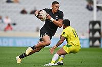22nd May 2021; Eden Park, Auckland New Zealand; All Blacks Sevens versus Australia, Trans-Tasman Sevens;  William Warbrick. dummies a tackle