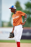 Gabriel Paulino (13) during the Dominican Prospect League Elite Underclass International Series, powered by Baseball Factory, on July 21, 2018 at Schaumburg Boomers Stadium in Schaumburg, Illinois.  (Mike Janes/Four Seam Images)