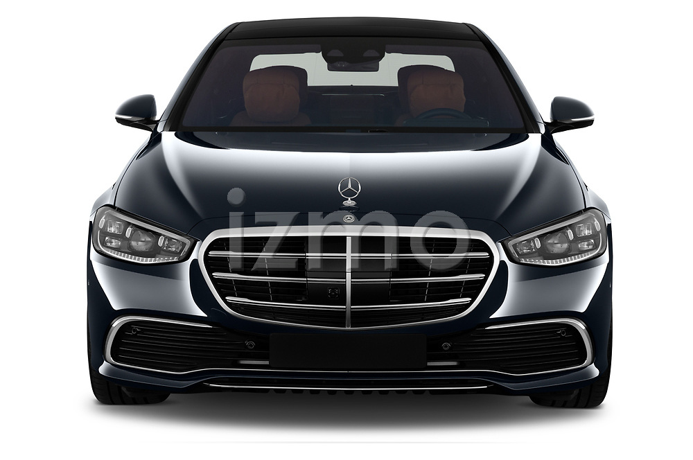 Car photography straight front view of a 2021 Mercedes Benz S-Class - 4 Door Sedan Front View