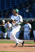USF Bulls catcher Levi Borders (12) at bat during a game against the Alabama State Hornets on February 15, 2015 at Bright House Field in Clearwater, Florida.  USF defeated Alabama State 12-4.  (Mike Janes/Four Seam Images)