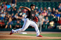 Rochester Red Wings starting pitcher Fernando Romero (43) delivers a pitch during a game against the Lehigh Valley IronPigs on September 1, 2018 at Frontier Field in Rochester, New York.  Lehigh Valley defeated Rochester 2-1.  (Mike Janes/Four Seam Images)