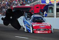 Feb. 19, 2012; Chandler, AZ, USA; NHRA funny car driver Bob Tasca III during the Arizona Nationals at Firebird International Raceway. Mandatory Credit: Mark J. Rebilas-