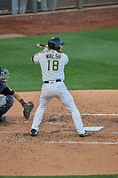 Jared Walsh (18) of the Salt Lake Bees at bat against the El Paso Chihuahuas at Smith's Ballpark on August 17, 2019 in Salt Lake City, Utah. The Bees defeated the Chihuahuas 5-4. (Stephen Smith/Four Seam Images)
