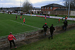 Congleton Town 1 Coventry United 1 (Pens 4-3), 19/12/2020. Ivy Gardens, FA Vase Third Round. Visiting supporters and players celebrating their team's goal as Congleton Town (white) play Coventry United. The home team were founded in 1901 and played in the North West Counties League Premier Division. They defeated their opponents from the Midland League Premier Division 4-3 on penalties after the match ended 1-1, watched by 300 spectators, the maximum permitted under Covid-19 restrictions. Photo by Colin McPherson.