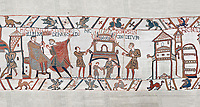 Bayeux Tapestry scene 46:  Duke William id told of Harolds army arrival and a house is burnt to clear the way. BYX46