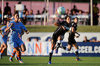 Marta (10) of the Western New York Flash crosses the ball. The Western New York Flash defeated Sky Blue FC 4-1 during a Women's Professional Soccer (WPS) match at Yurcak Field in Piscataway, NJ, on July 30, 2011.