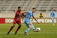 HARRISON, NJ - FEBRUARY 26: James Sands #16 of NYCFC during a game between AD San Carlos and NYCFC at Red Bull on February 26, 2020 in Harrison, New Jersey.