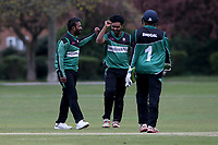 Ilford players celebrate taking the wicket of James Evans during Upminster CC (batting) vs Ilford CC, Hamro Foundation Essex League Cricket at Upminster Park on 8th May 2021
