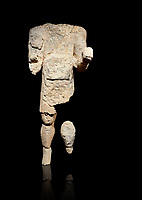 9th century BC Giants of Mont'e Prama  Nuragic stone statue of an archer, Mont'e Prama archaeological site, Cabras. Museo archeologico nazionale, Cagliari, Italy. (National Archaeological Museum) - Black Background