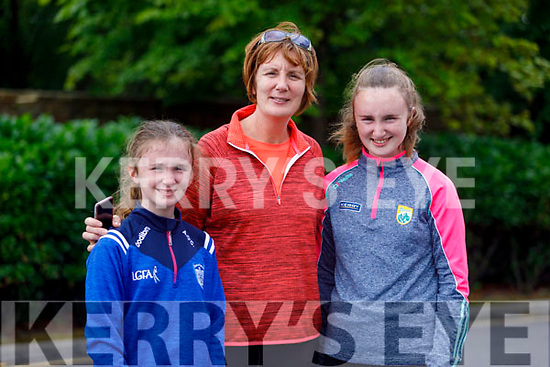 Aoife, Brenda and Aisling O'Connell from Tralee supporting the 10 miles in 10 days in memory of Conor Cusack at the finish line at the Rose Hotel on Saturday.