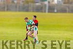 Na Gaeil's Jamie Lowham and Sean Roche of  Glenbeigh-Glencar tussle for possession in their Division 2 encounter in the County Football league on Sunday