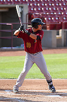 Quad Cities River Bandits infielder Kristian Trompiz (13) at bat during a Midwest League game against the Wisconsin Timber Rattlers on July 17th, 2015 at Fox Cities Stadium in Appleton, Wisconsin. Quad Cities defeated Wisconsin 4-2. (Brad Krause/Four Seam Images)