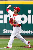 Alan Ahmady (38) of the Springfield Cardinals throws a ball back to the infield during a game against the Arkansas Travelers on May 10, 2011 at Hammons Field in Springfield, Missouri.  Photo By David Welker/Four Seam Images.
