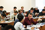 February 23, 2015. Durham, North Carolina.<br />  Students in Professor Elisabeth deFontenay's Corporate Finance class work together on a class exercise on stock returns.<br />  The Duke University School of Law is considered one of the best law schools in the country.