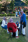 Royal Wedding of Prince Harry and Megham Markle, 19th May 2018. Windsor Berkshire. Group of British Muslim women wearing union jack, design  headscarfs. They were proud to be British they said.