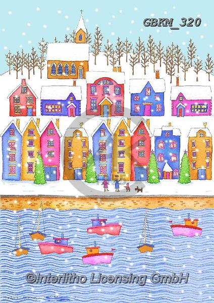 Kate, CHRISTMAS LANDSCAPES, WEIHNACHTEN WINTERLANDSCHAFTEN, NAVIDAD PAISAJES DE INVIERNO, paintings+++++Harbour scene,GBKM320,#XL#