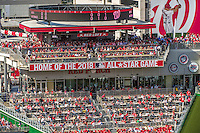 6 April 2015: Fans cheers as the Washington Nationals reveal the banner announcing the 2018 All Star Game to be held in Washington, DC. The Mets rallied to defeat the Nationals 3-1 in their first meeting of the 2015 MLB season. Mandatory Credit: Ed Wolfstein Photo *** RAW (NEF) Image File Available ***