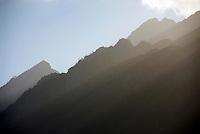 Sunbeams on Mountain summits nearby Stellenbosch, South Western Cape, South Africa