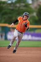 Norfolk Tides Zach Vincej (5) running the bases during an International League game against the Buffalo Bisons on June 21, 2019 at Sahlen Field in Buffalo, New York.  Buffalo defeated Norfolk 2-1, the first game of a doubleheader.  (Mike Janes/Four Seam Images)