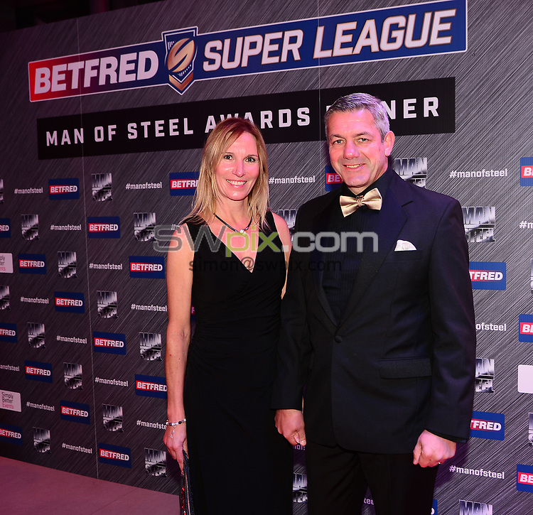 Picture by Simon Wilkinson/SWpix.com - 03/10/2017 - Rugby League BETFRED Super League Man of Steel Awards Dinner 2017 - The Steve Prescott MBE Man of Steel - Castleford coach Daryl POWELL on the red carpet with partner