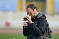 20180305 - LARNACA , CYPRUS :  Belgian media officer Jonathan Vanooteghem pictured during a women's soccer game between  the Belgian Red Flames  and Austria , on Monday 5 March 2018 at the GSZ Stadium in Larnaca , Cyprus . This is the third game in group B for Belgium during the Cyprus Womens Cup , a prestigious women soccer tournament as a preparation on the World Cup 2019 qualification duels. PHOTO SPORTPIX.BE | DAVID CATRY
