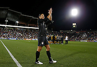 Commerce City, Colorado - Wednesday September 19, 2012; The  US WNT defeated the National team of Australia 2-1 during an International friendly game at Dick's Sporting Goods Park.  Hope Solo thanks the crowd after the USWNT victory.