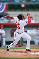 Florida Fire Frogs center fielder Cristian Pache (25) follows through on a swing during a game against the Daytona Tortugas on April 8, 2018 at Osceola County Stadium in Kissimmee, Florida.  Daytona defeated Florida 2-1.  (Mike Janes/Four Seam Images)