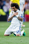 Marcelo Vieira Da Silva of Real Madrid celebrates during their 2016-17 UEFA Champions League Quarter-finals second leg match between Real Madrid and FC Bayern Munich at the Estadio Santiago Bernabeu on 18 April 2017 in Madrid, Spain. Photo by Diego Gonzalez Souto / Power Sport Images
