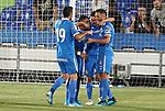 Getafe CF's Jorge Molina, Angel Rodriguez, Markel Bergara and Bruno Gonzalez celebrate goal during friendly match. August 10,2019. (ALTERPHOTOS/Acero)