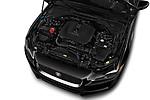 Car stock 2019 Jaguar XE R-Sport 4 Door Sedan engine high angle detail view