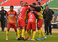 TUNJA - COLOMBIA, 22-02-2020:Wilfrido de La Rosa del Deportivo Pereira celebra después de anotar un  gol de su equipo partido entre  Boyacá Chicó  y Deportivo Pereira por la fecha 6 de la Liga BetPlay I 2020 jugado en el estadio La Independencia de la ciudad de Tunja. /Wilfrido de La Rosa  del Deportivo Pereira celebrates after scoring the  goal of his team during match between  Boyaca Chico and  Deportivo Pereira for the date 6 as part of BetPlay League I 2020 played at La independencia stadium inTunja.. Photo: VizzorImage / José Palencia / Cont /