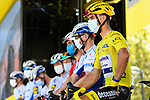 Yellow Jersey Julian Alaphilippe (FRA) and Deceuninck-Quick Step at sign on before the start of Stage 5 of Tour de France 2020, running 183km from Gap to Privas, France. 2nd September 2020.<br /> Picture: ASO/Alex Broadway   Cyclefile<br /> All photos usage must carry mandatory copyright credit (© Cyclefile   ASO/Alex Broadway)