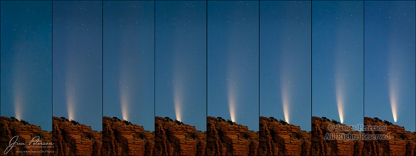 NEOWISE Arises over Courthouse Butte.  Here's a sequence of 8 images showing our comet friend Mr. NEOWISE rising over one of our iconic Sedona red rock formations before dawn on July 9, 2020.  His tail reached out, as if to test the waters, long before he poked his head above these sandstone cliffs in Arizona's Coconino National Forest.  This was one of the last few days that he was visible before sunrise, and he apparently wanted to make the most of it!<br /> <br /> Tech info: Nikon D850 camera with Tamron 150-600mm lens at 350mm, 4 sec. at f6.0, ISO 4000.  Composite of eight images cropped and assembled in Photoshop.<br /> <br /> Image ©2020 James D. Peterson