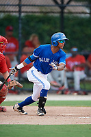 GCL Blue Jays right fielder Warnel Valdez (16) hits a single during a game against the GCL Phillies West on August 7, 2018 at Bobby Mattick Complex in Dunedin, Florida.  GCL Blue Jays defeated GCL Phillies West 11-5.  (Mike Janes/Four Seam Images)
