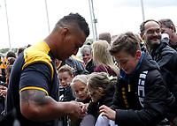 Photo: Richard Lane/Richard Lane Photography. Wasps v Leicester Tigers. Aviva Premiership. Semi Final. 20/05/2017. Wasps' Nathan Hughes arrives.
