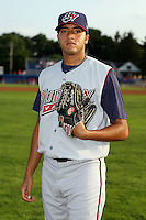 July 4th 2008:  Chris Andujar of the Hudson Valley Renegades, Class-A affiliate of the Tampa Bay Rays, during a game at Dwyer Stadium in Batavia, NY.  Photo by:  Mike Janes/Four Seam Images