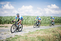 Rick Zabel (DEU/Israel-StartUp Nation) turning in at the Carrefour de l'Arbre cobbled section<br /> <br /> reconnaissance of the (delayed, due to the Covid19 pandemic) Paris-Roubaix course by Team Israel - StartUp Nation <br /> <br /> Nord-Pas de Calais region (FRA), 17 july 2020<br /> ©kramon